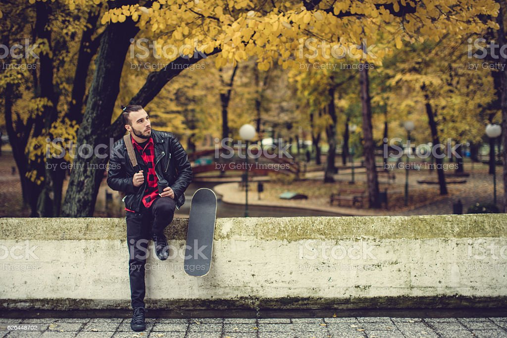 Hipster having coffee break stock photo