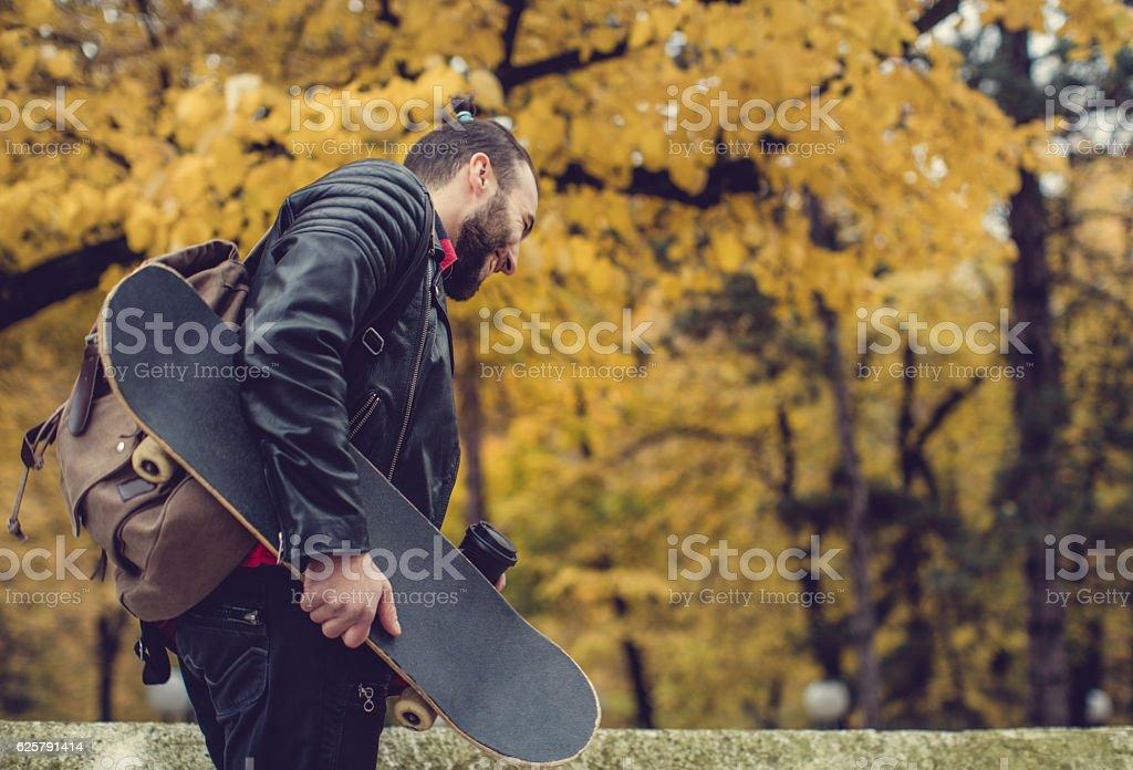 Hipster having coffee stock photo