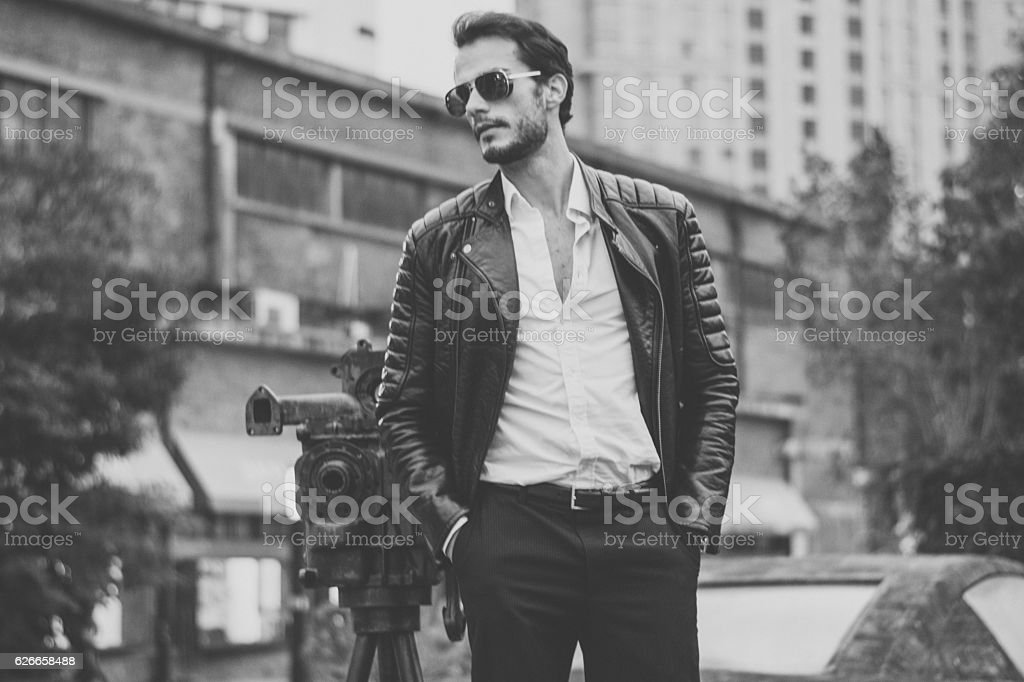 Hipster in black and white stock photo