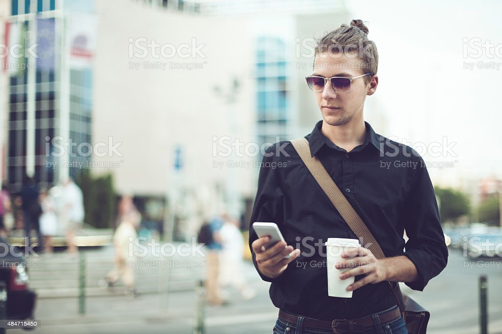 Hipster in the city stock photo