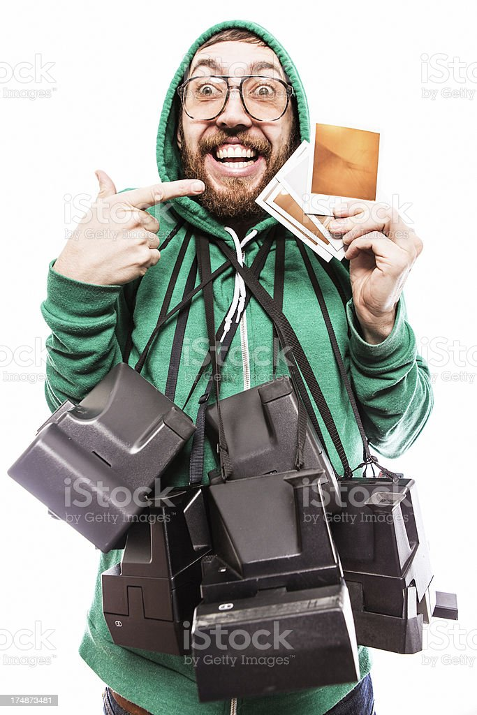 Hipster Instant Print Guy royalty-free stock photo