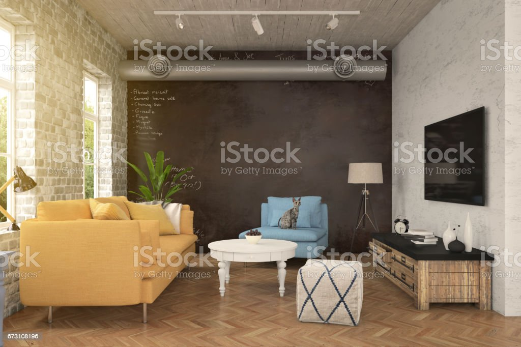 Hipster living room interior stock photo