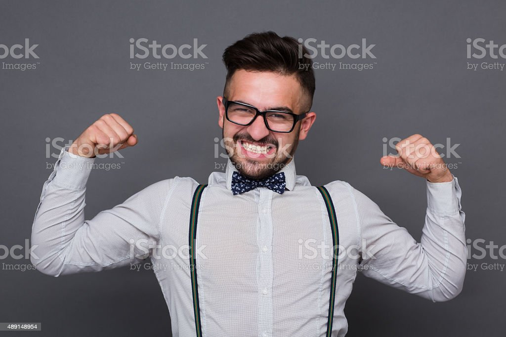 Hipster man in studio stock photo
