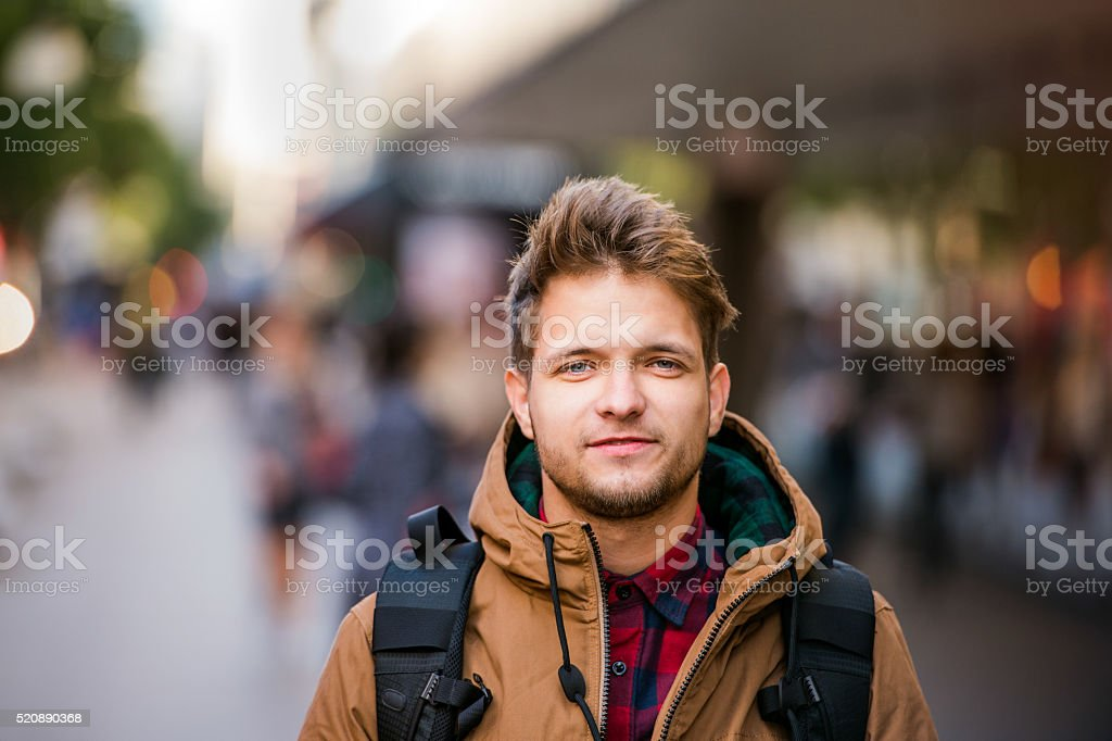 Hipster man walking in the streets of London stock photo