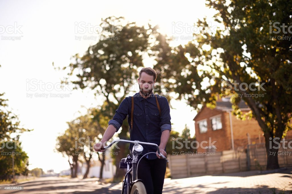 Hipster on the roll! stock photo