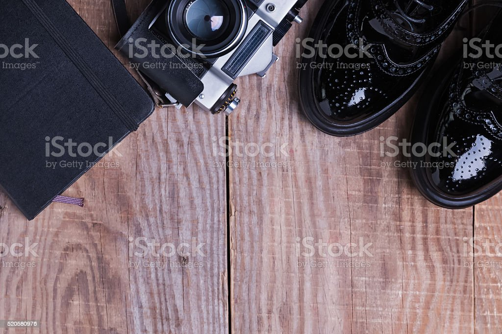 Hipster outfit on wooden background stock photo