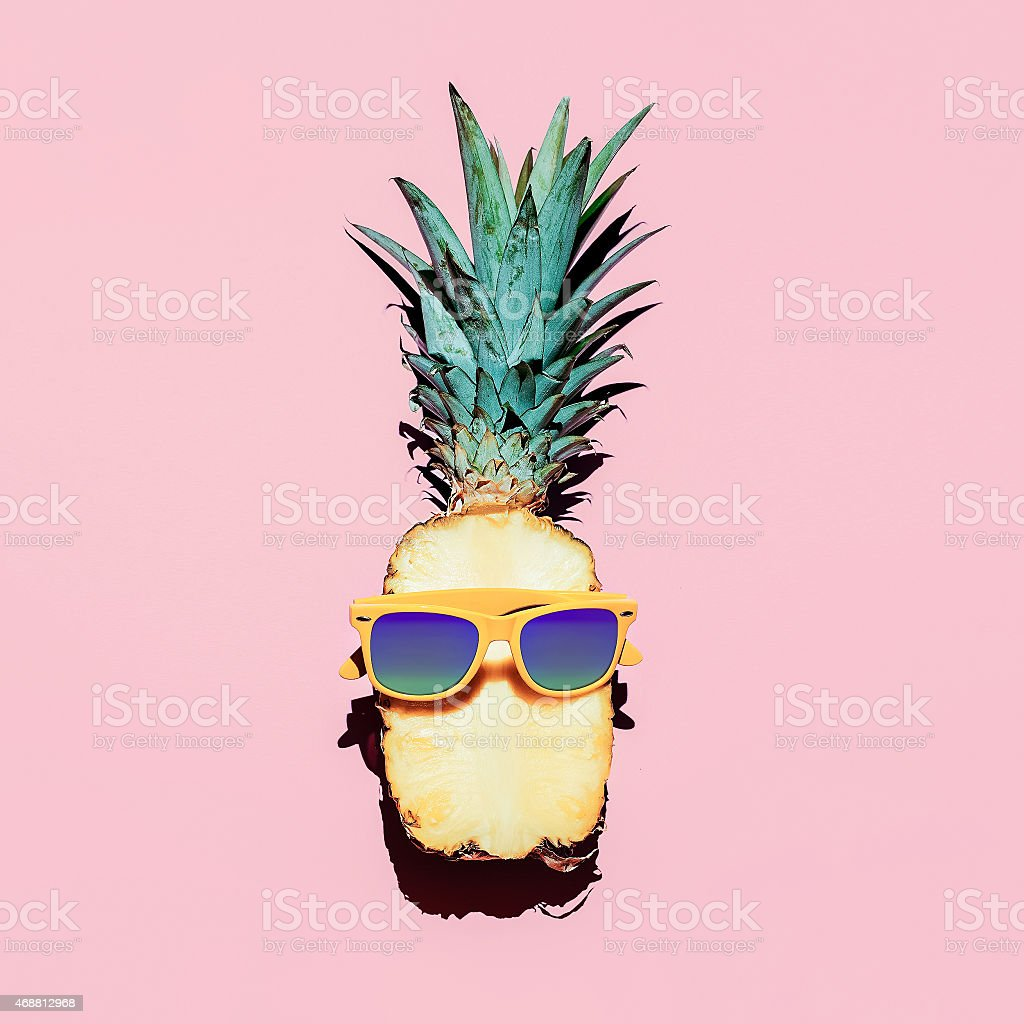 Hipster Pineapple Fashion Accessories and fruits. Vanilla style. stock photo