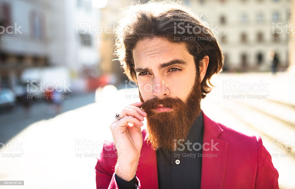 Hipster portrait touching the beard stock photo