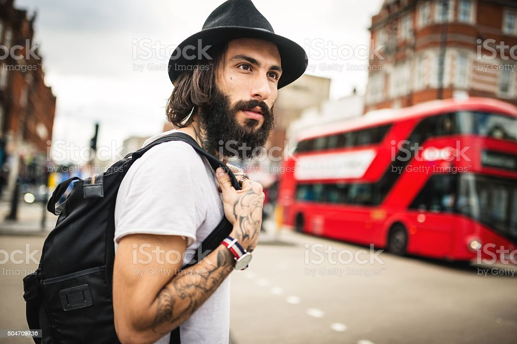 Hipster Solo traveler in Camden town London stock photo