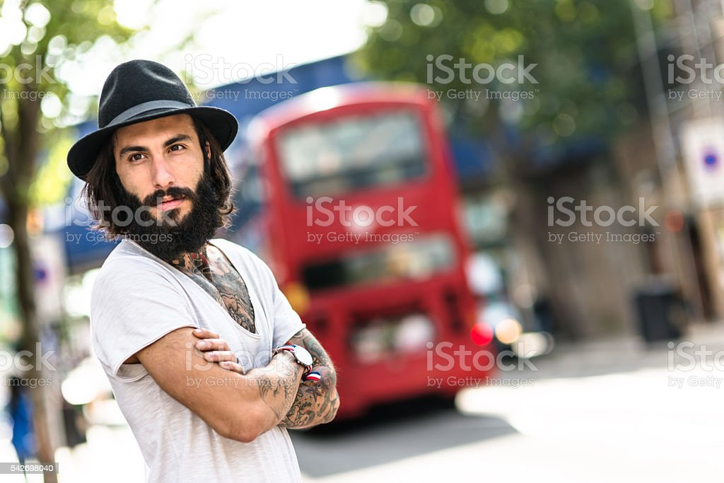 Hipster Solo traveler in Camden town London stock photo
