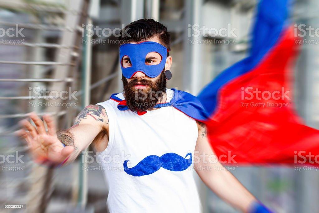 Hipster superhero stock photo