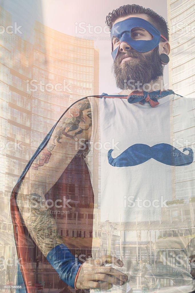 Hipster superhero portrait stock photo