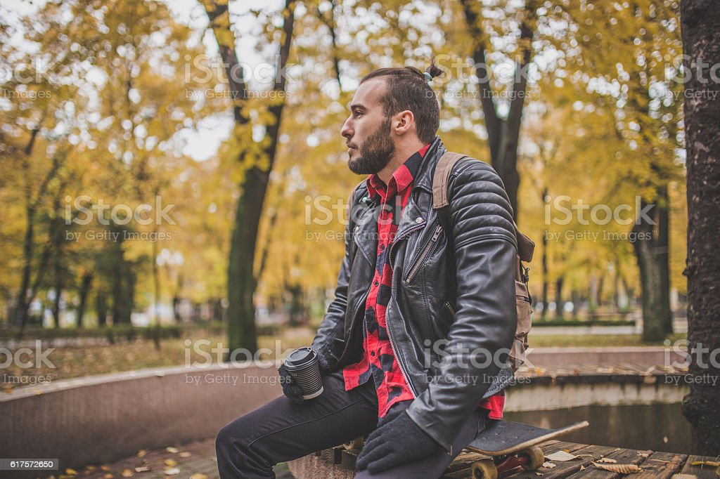 Hipster taking a break stock photo