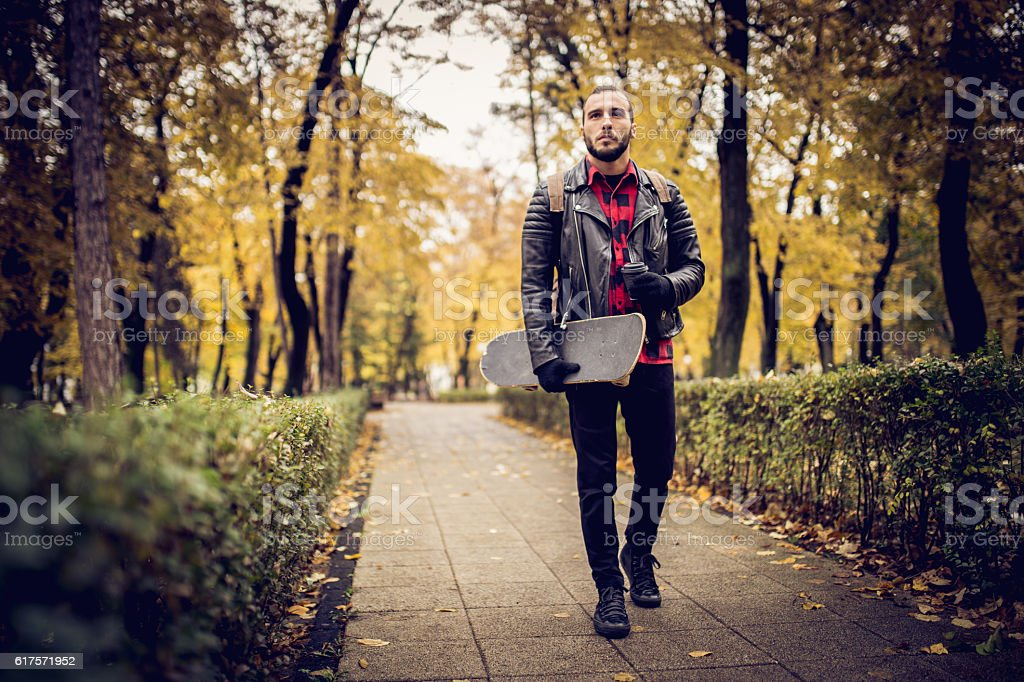 Hipster taking a walk stock photo