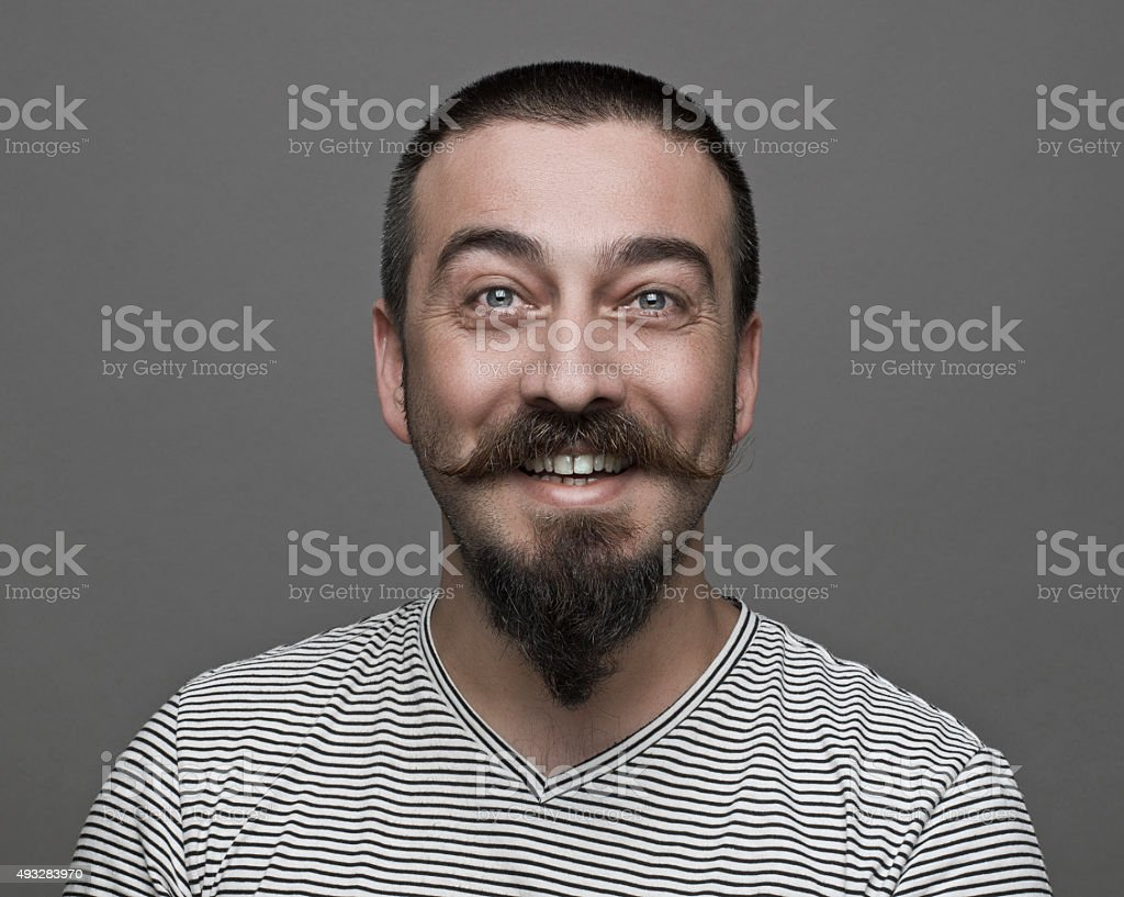 Hipster with long moustaches stock photo