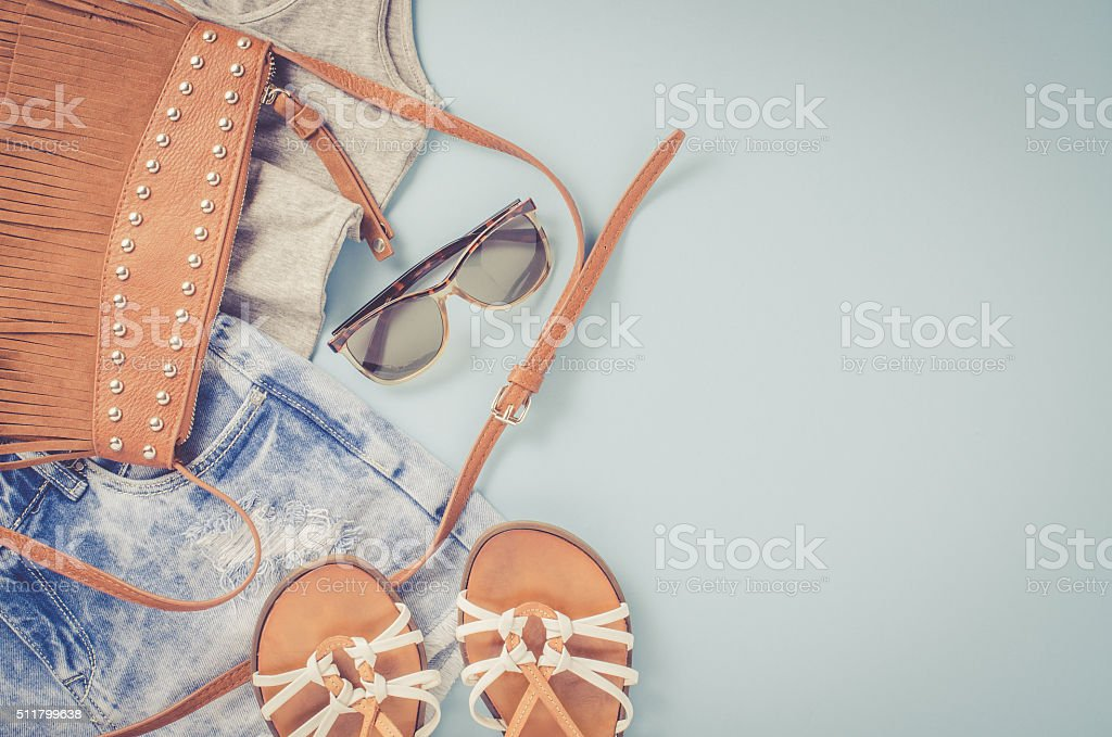 Hipster woman clothes stock photo