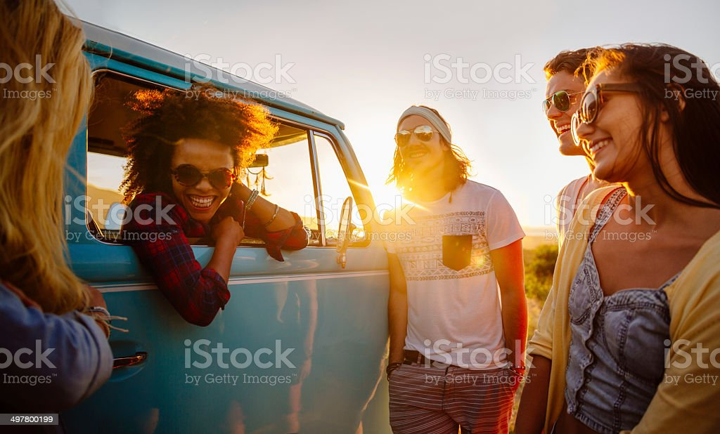 Hipsters on a roadtrip stock photo