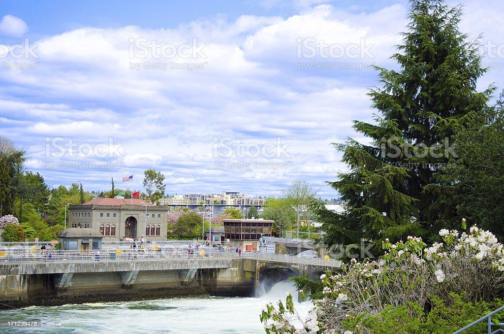 Hiram M. Chittenden Locks in Seattle, WA royalty-free stock photo