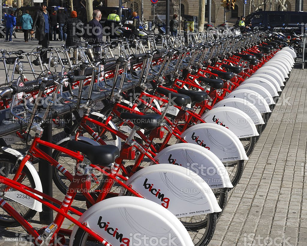 Hire bicycles in Barcelona. Spain royalty-free stock photo