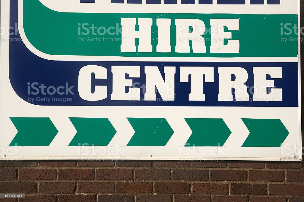 Hire centre sign UK royalty-free stock photo