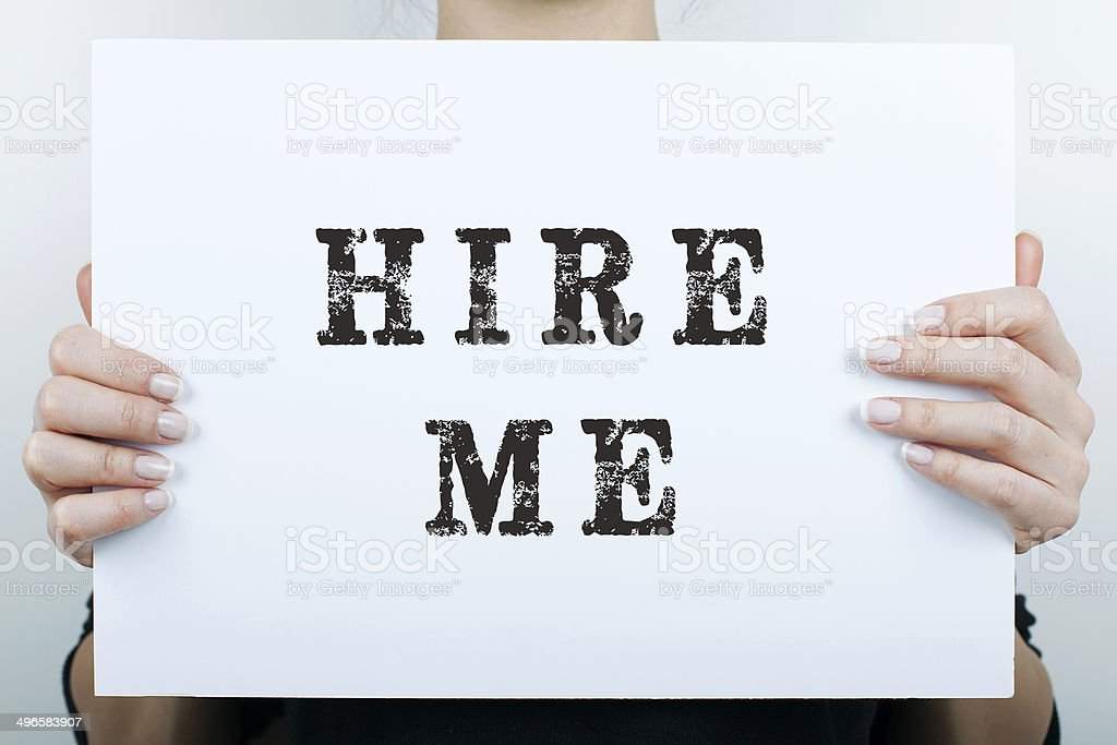 Hire me sign stock photo