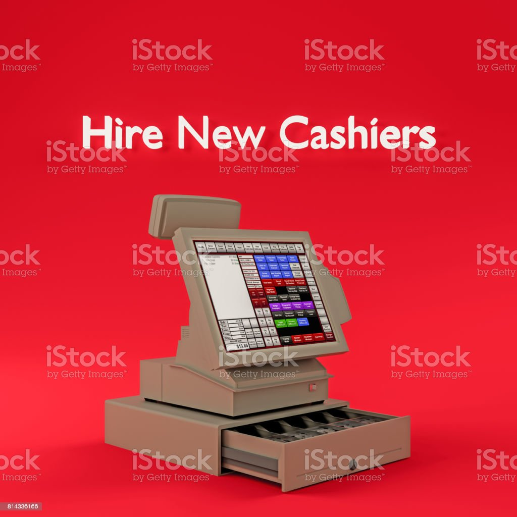 Hire new Cashiers stock photo