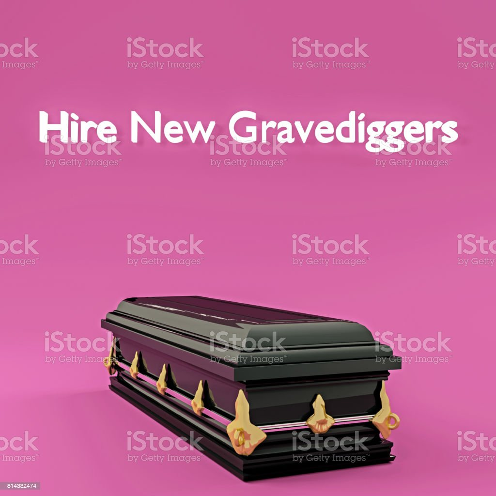 Hire new gravediggers stock photo
