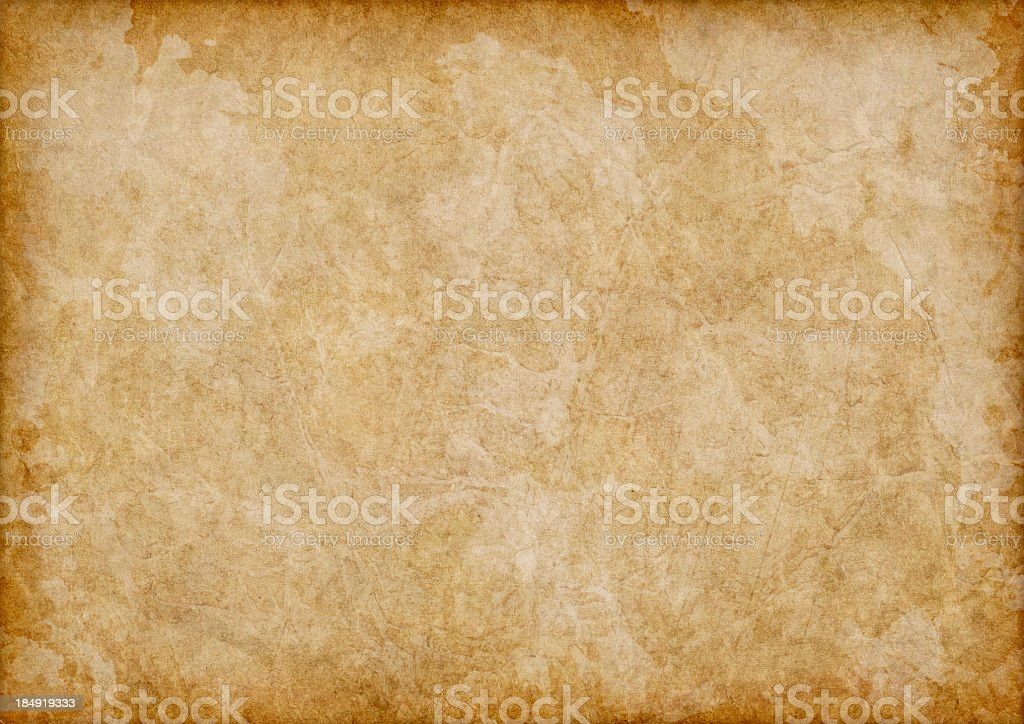 Hi-Res Antique Animal Skin Parchment Blotted Vignette Grunge Texture stock photo