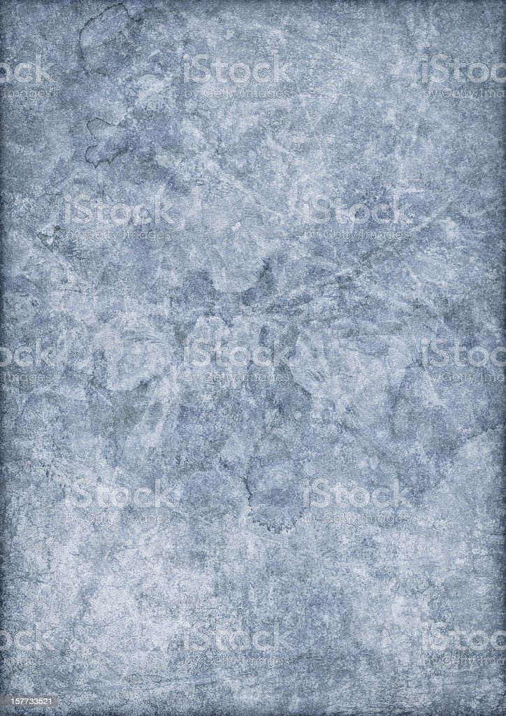 Hi-Res Antique Blue Recycled Paper Mottled Vignette Grunge Texture royalty-free stock photo
