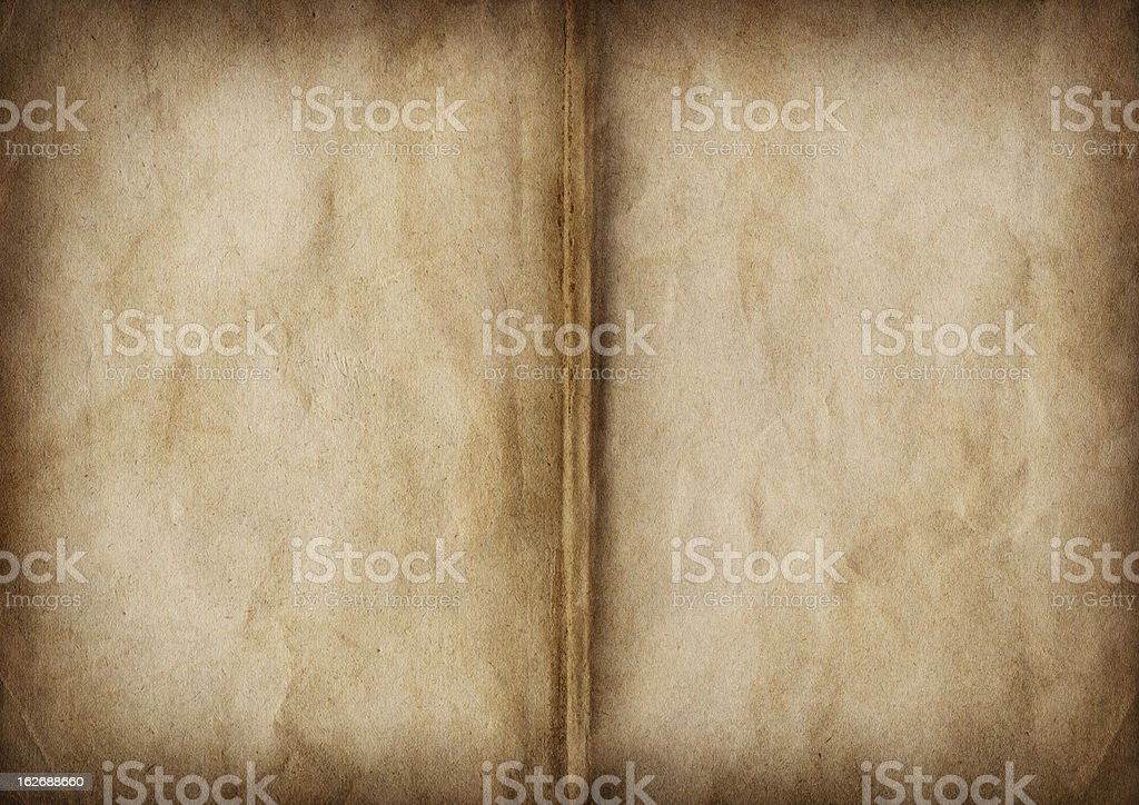 Hi-Res Antique Book Blank Pages Crumpled Vignette Grunge Texture stock photo