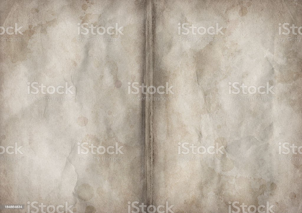 Hi-Res Antique Book Blank Pages Crumpled Vignette Grunge Texture royalty-free stock photo