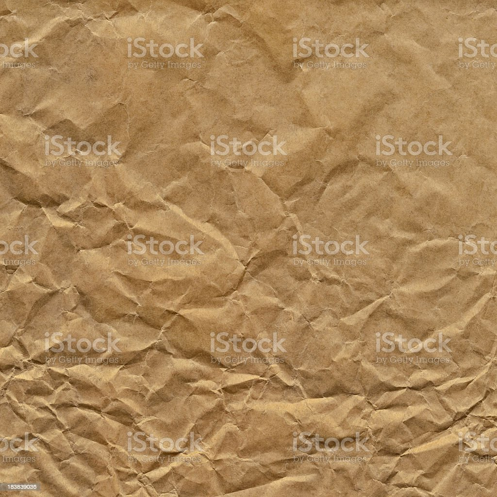 Hi-Res Antique Brown Kraft Wrapping Paper Crushed Crumpled Grunge Texture stock photo