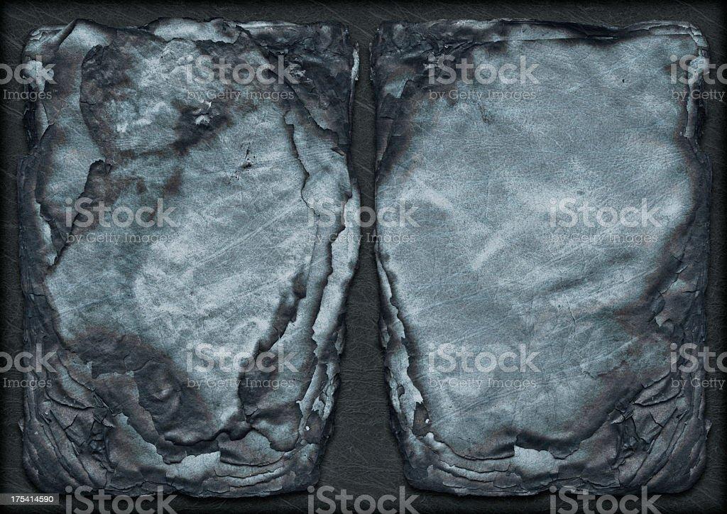 Hi-Res Antique Burnt Blue Parchment Sheets Stack Vignette Grunge Texture royalty-free stock photo