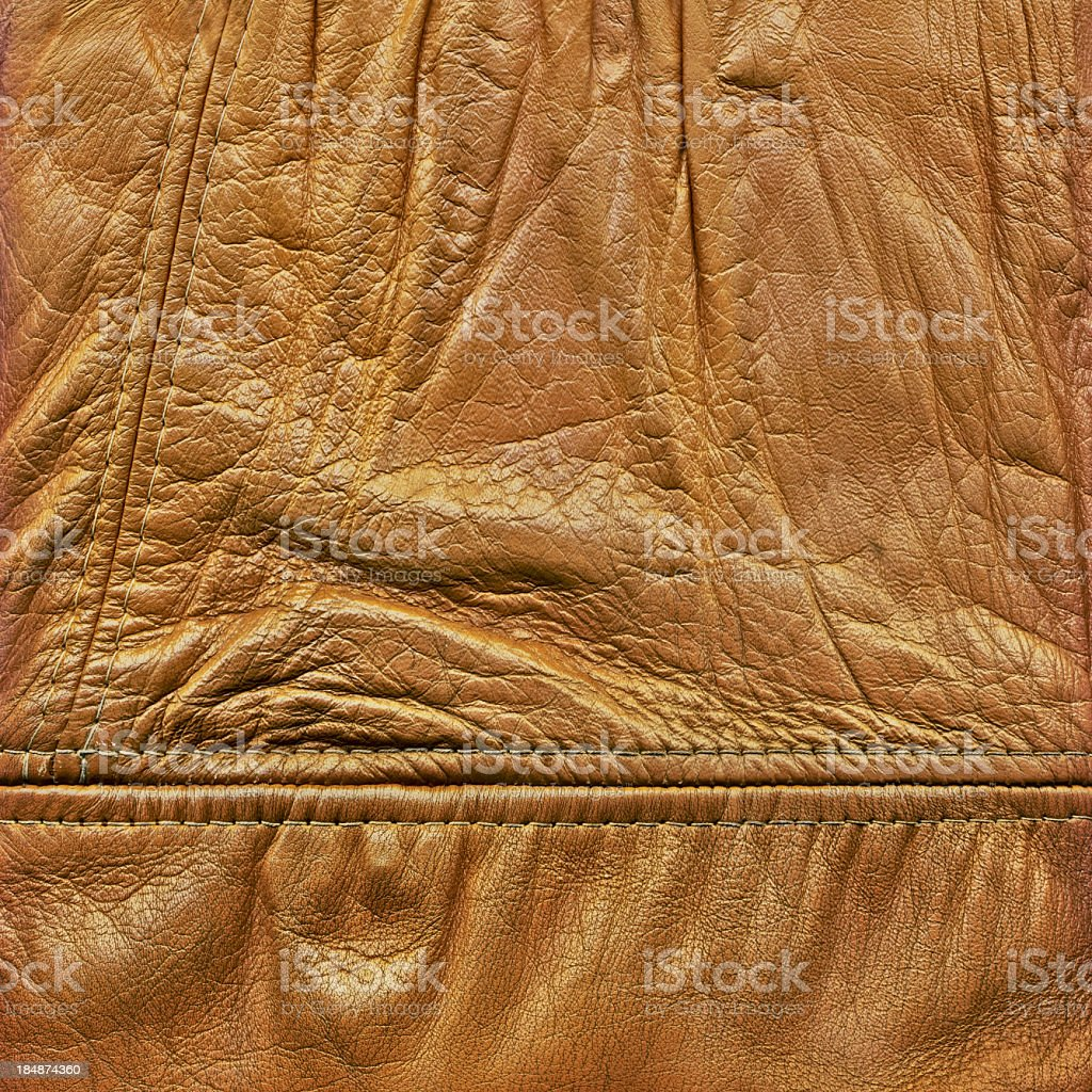 Hi-Res Antique Ocher-brown Veal Nappa Leather Patchwork Crumpled Grunge Texture royalty-free stock photo