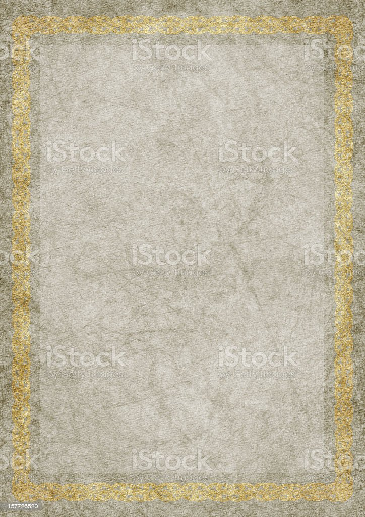 Hi-Res Antique Parchment with Gilded Arabesque Medieval Border royalty-free stock photo