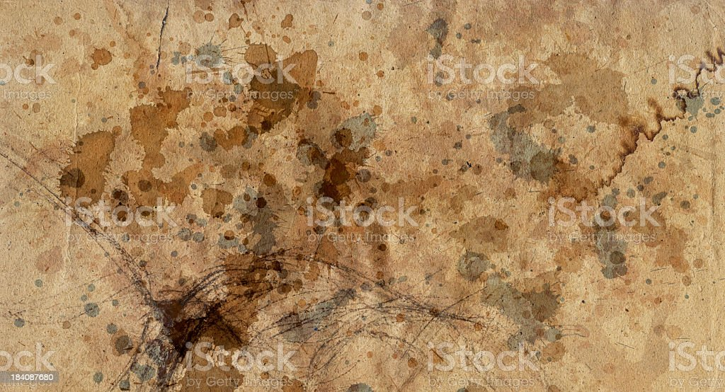 Hi-Res Antique Recycled Brown Kraft Paper Inks Blotted Grunge Texture royalty-free stock photo