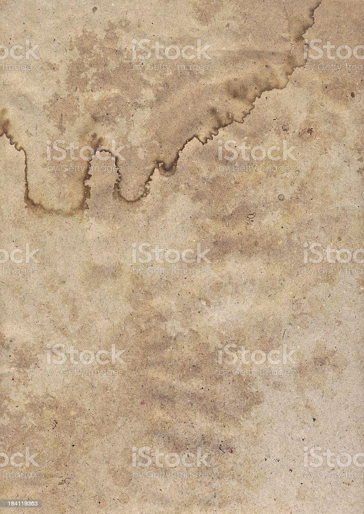 Hi-Res Antique Recycled Brown Kraft Wrapping Paper Dappled Grunge Texture royalty-free stock photo