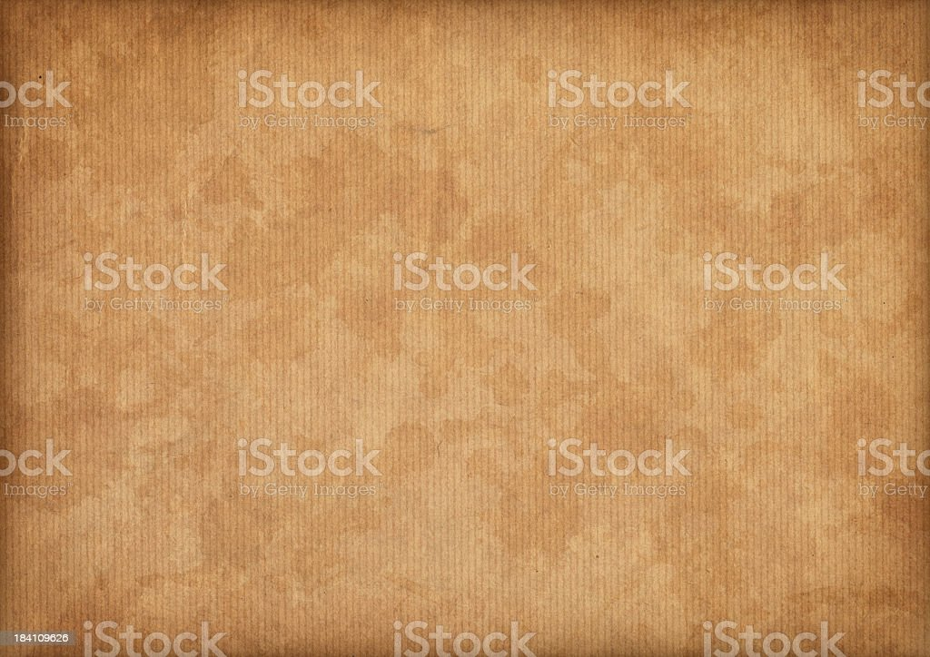 Hi-Res Antique Vignette Mottled Brown Striped Kraft Paper Texture royalty-free stock photo