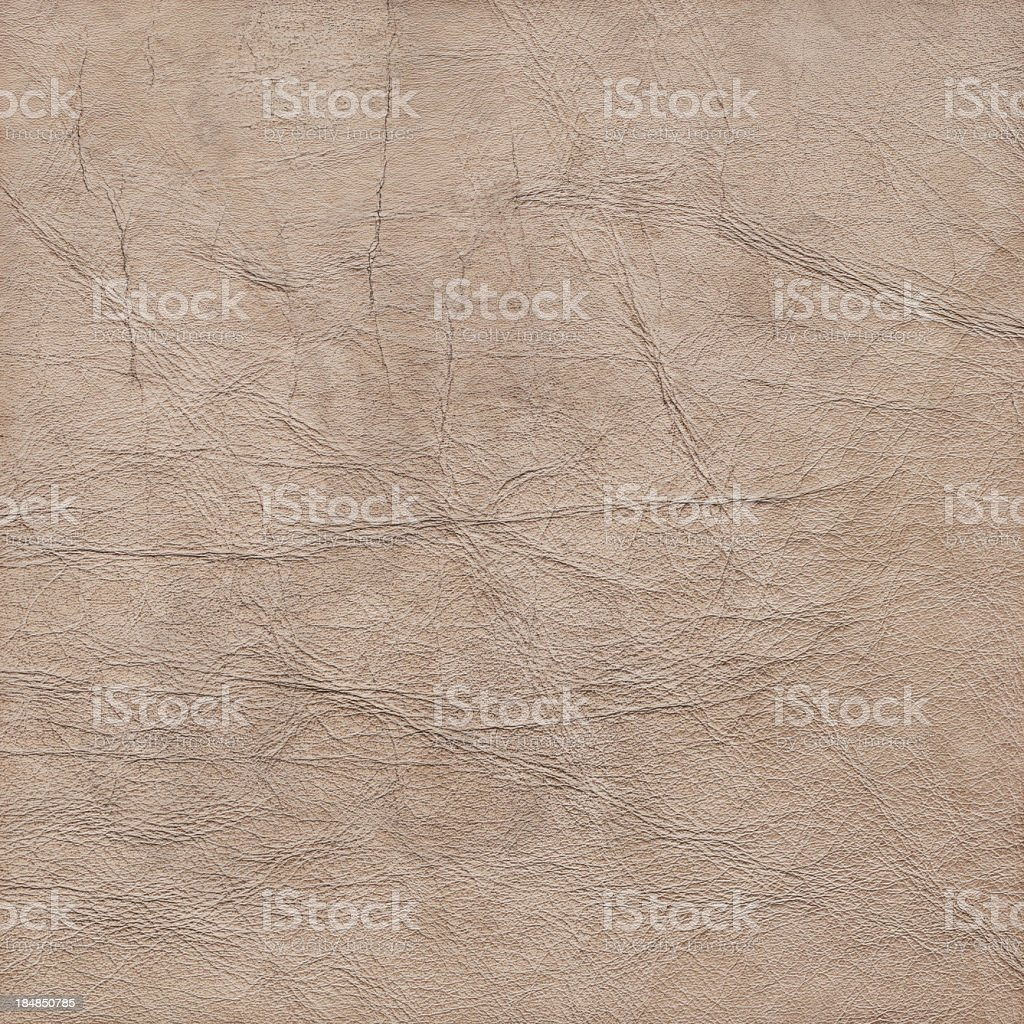 Hi-Res Beige Veal Leather Crumpled Mottled Vignette Grunge Texture royalty-free stock photo