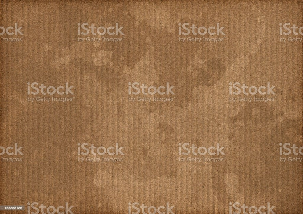 Hi-Res Brown Corrugated Cardboard Stained Mottled Vignette Grunge Texture royalty-free stock photo