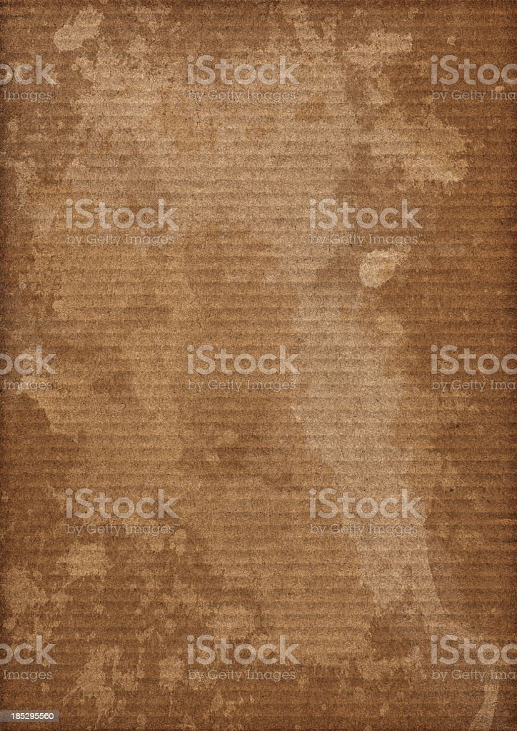 Hi-Res Brown Corrugated Cardboard Stained Mottled Vignette Grunge Texture stock photo