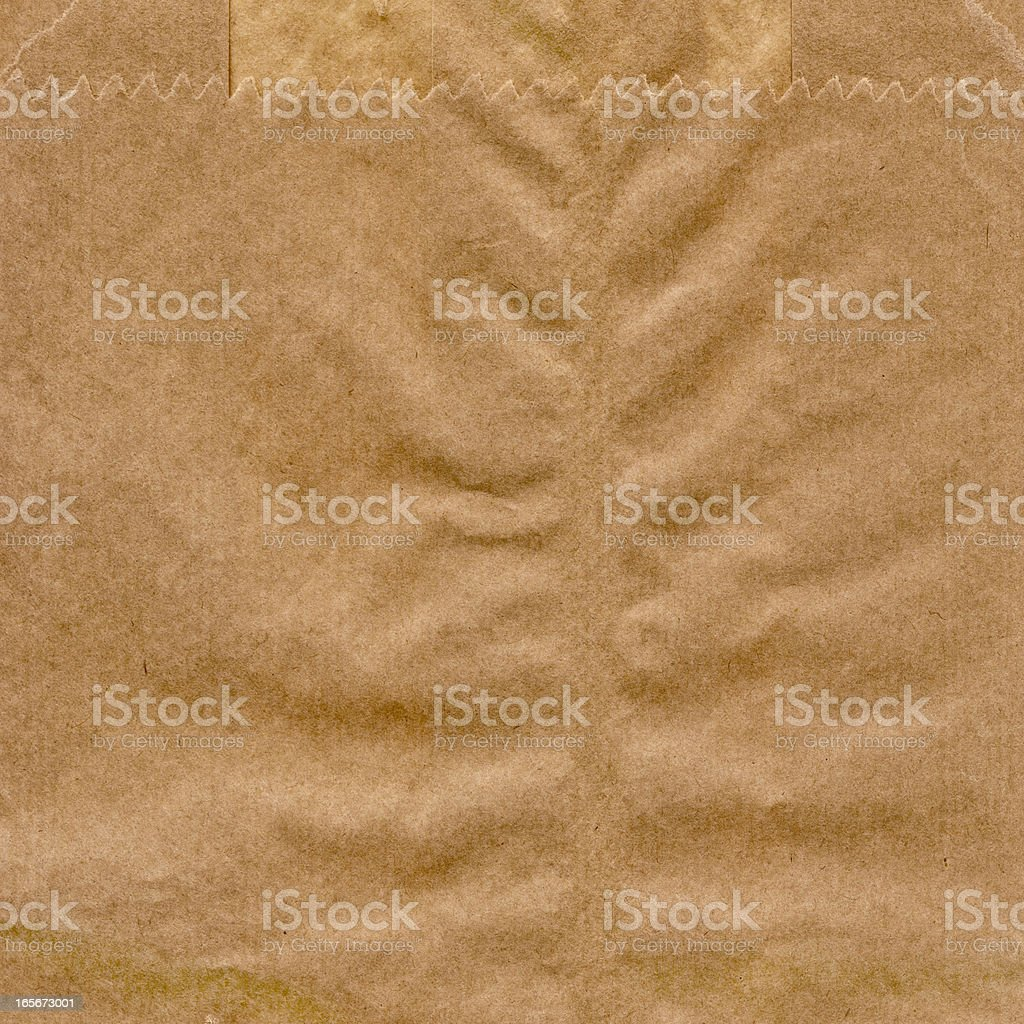 Hi-Res Brown Kraft Paper Grocery Bag Crumpled Grunge Texture Detail stock photo