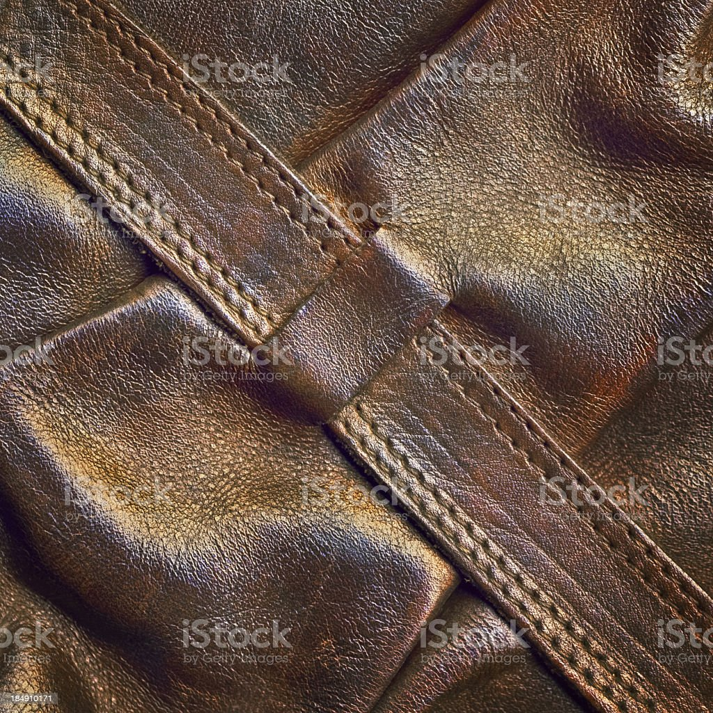 Hi-Res Brown Leather Boot Shaft Strap Detail stock photo