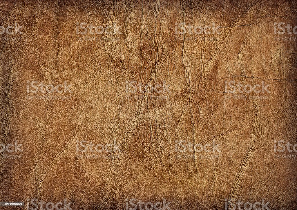 Hi-Res Brown Veal Leather Crumpled Mottled Vignette Grunge Texture royalty-free stock photo