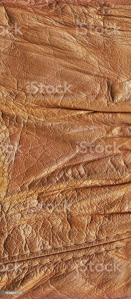 Hi-Res Brown Veal Leather Patchwork Crumpled Wizened Grunge Texture royalty-free stock photo