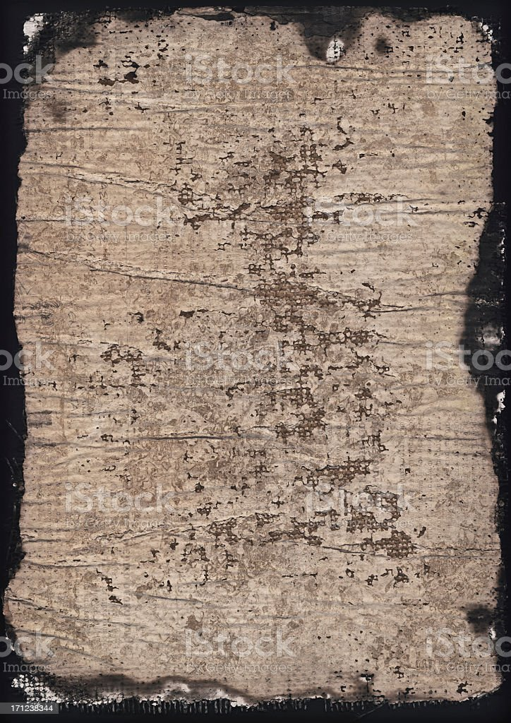 Hi-Res Burnt Primed Coarse Jute Canvas Crumpled Grunge Texture royalty-free stock photo