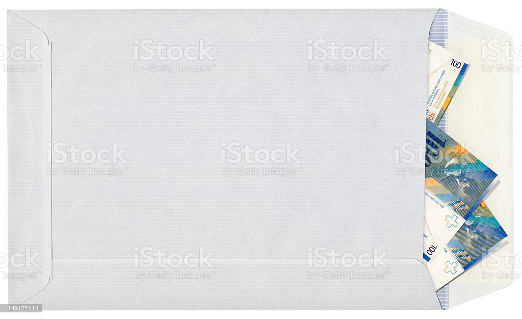 Hi-Res Isolated White-Blue Striped Envelope With Swiss Francs Notes Inserted royalty-free stock photo