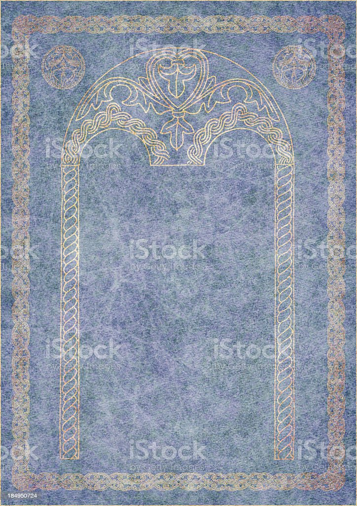 Hi-Res Medieval Arabesque Gilded Decorative Motif on Blue Animal-skin Parchment royalty-free stock photo