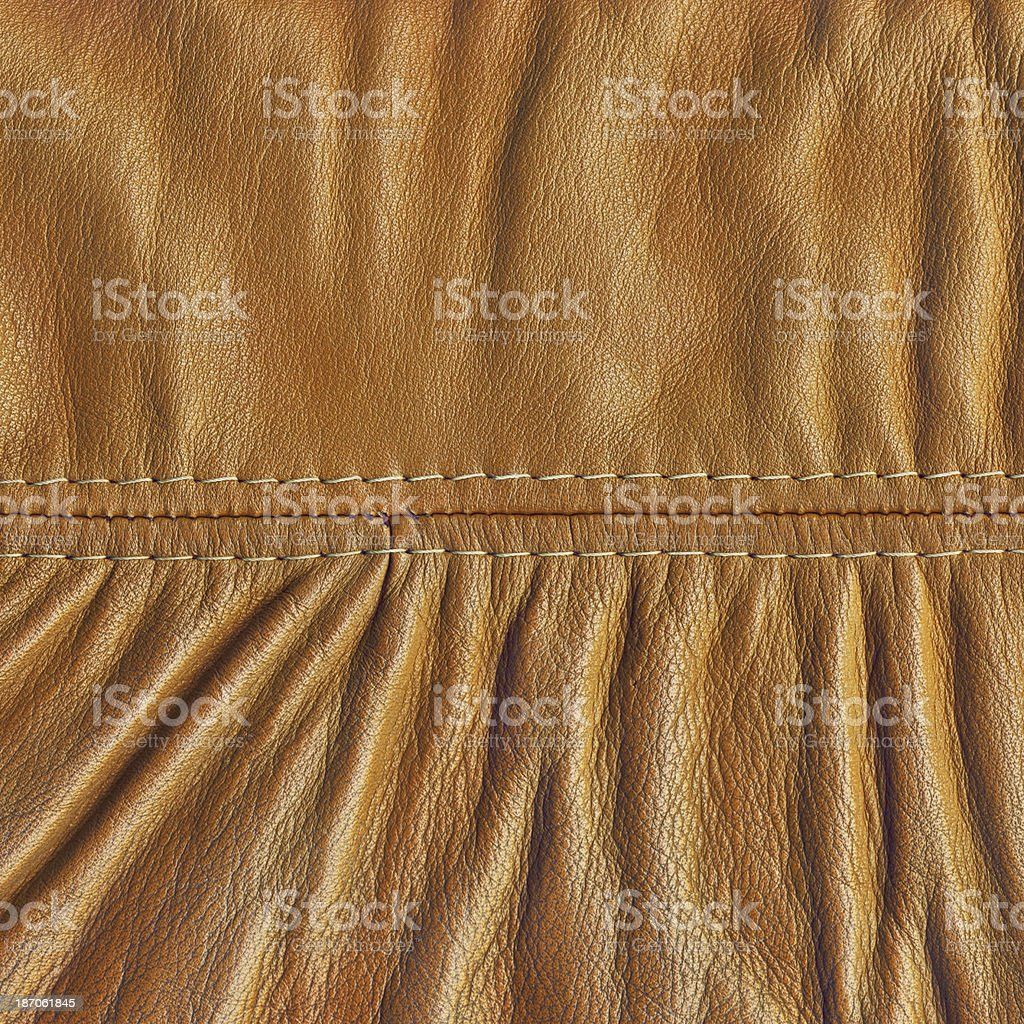 Hi-Res Ocher-brown Leather Patchwork Crumpled Grunge Texture royalty-free stock photo