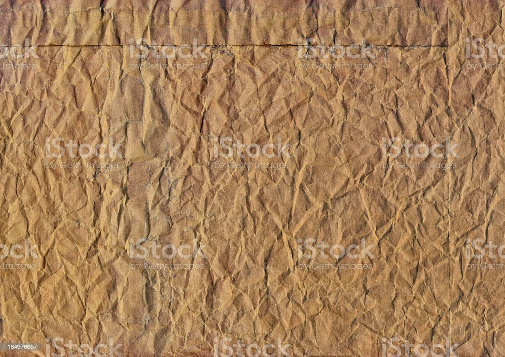 Hi-Res Old Brown Paper Grocery Bag Crushed Grunge Texture royalty-free stock photo